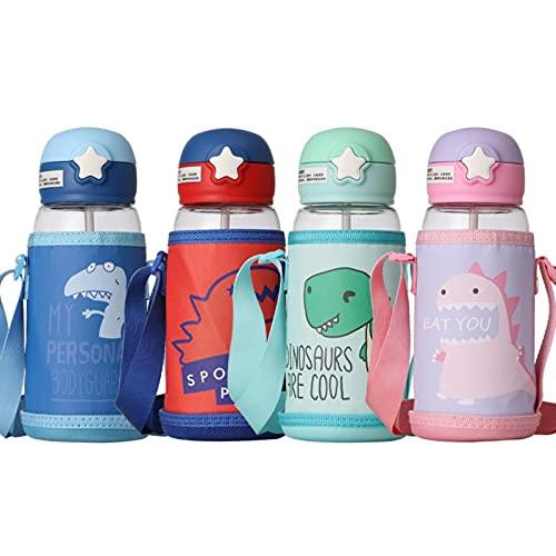 UKKD Sippy Cup Para Niños 480 / 700Ml Niños Copa De Agua Dibujos Animados Creativos Bebé Tazas De Alimentación Con Pajitas Botellas De Agua A Prueba De Agua Tazas De Niños Portátiles-Green