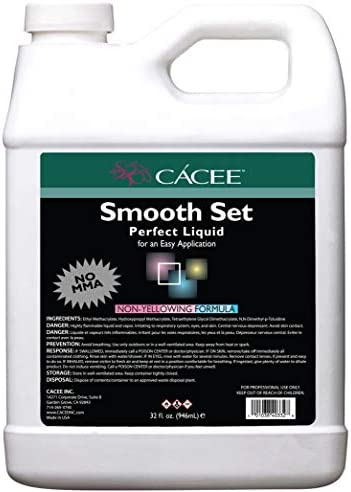 Smooth Acrylic Nail Liquid Monomer 32 oz Smooth Set Perfect by Cace Flexible Non Yellowing Formula product image