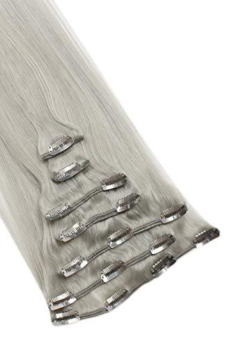 Clip In Extensions Echthaar 7tlg SET - 55cm in #Grau 7 teiliges Haarteil für komplette Haarverlängerung - Hochwertige graue 100% Remy Echthaar Clip-In Extension GlamXtensions