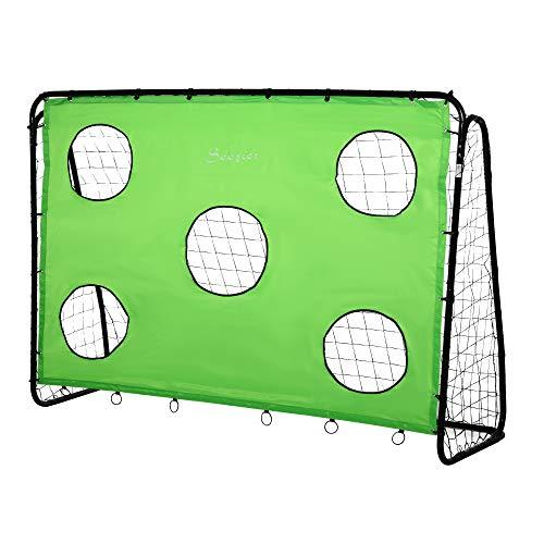 Soozier 8 x 3ft Soccer Goal Target Goal 2 in 1 Design Indoor Outdoor Backyard with All Weather PE Net Best Gift
