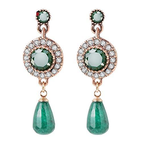 Orecchini a goccia di pietra naturale verde per donne d'oro antico goccia d'acqua Tassel ciondolo gioielli etnici punk vintage gioielli