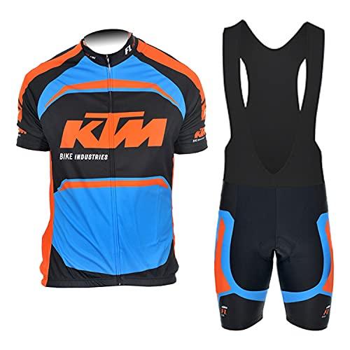 d'Stil Abbigliamento Ciclismo Da Uomo,Top Manica Corta + Pantaloncini Da Ciclismo Con Gel Pad Asciugatura Veloce Traspirante Anti-Sweat Per Bici Da Corsa MTB (Blu, M)