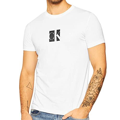 Calvin Klein Small Center CK Box tee Camisa, Bright White, XS para Hombre
