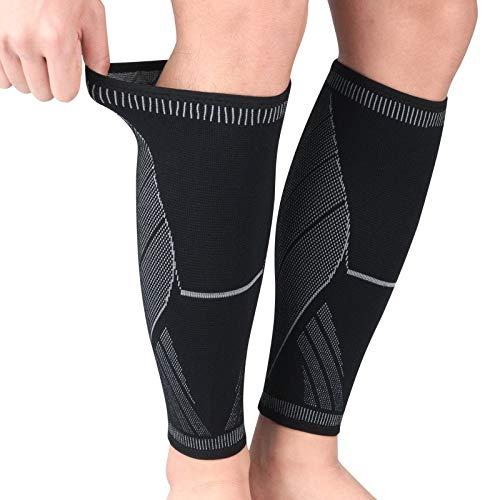 ysong Waden Kompressionsstrümpfe - Kompression Sleeve Laufstrümpfe für Herren und Damen Laufen, Joggen, RadfahrenXL-Black Gray