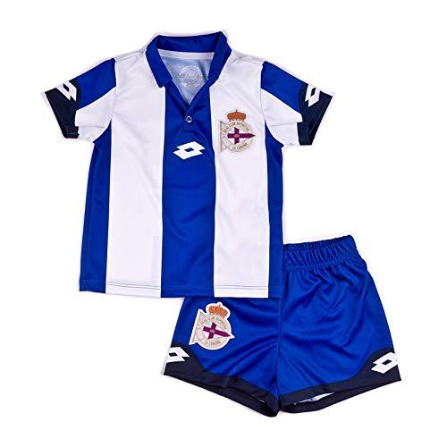 Lotto RC Deportivo de la Coruña Primera Equipación 2016-2017 Bebé, Conjunto, Royal-White, Talla 9-12 Mes