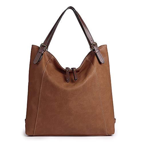 Damen Umhängetasche, Brenice Rindsleder Tote Handtaschen Vintage Multifunktions Rucksack Schultertaschen Crossbody Tasche für Frauen Kaffee