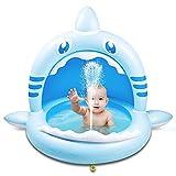 Weokeey Planschbecken für Kinder, Hai Baby Pool mit Sonnenschutz Dach Baby Planschbecken mit Wasserspray Babypool für Balkon, Garten, Terrasse(160*110*115cm)