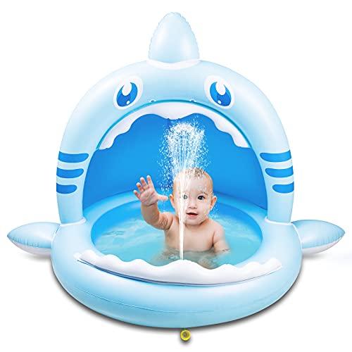 Weokeey Piscina Infantil, Piscina Hinchable Infantil Tiburón con Techo de Protección Solar Piscina Bebe con Chorro de Agua Piscina Niños para Balcón, Jardín, Ducha, Terraza (160 * 110 * 115cm)