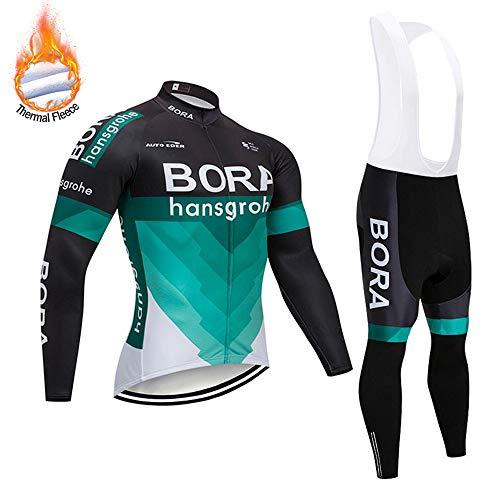 SUHINFE Herren Radtrikot Set Langarm Winter, Warmes Thermovlies Fahrrad Anzug mit Radfahren Trägerhose für MTB, Moto
