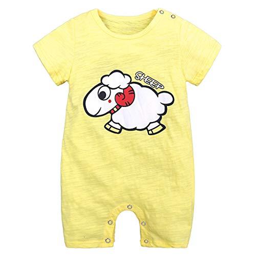 Yazidan Baby Kleid mit kurzen Ärmeln und Print Siamesische Kleidung Kleinkind Säugling Baby Mädchen Jungen Kurzarm Karikatur Druckoverallspielanzug