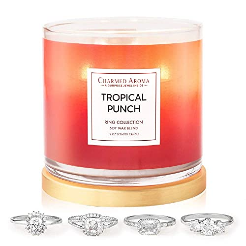 Charmed Aroma 2-Wick, Tropical Punch Jewelry Candle with Surprise Ring Inside (Ring Size 8)