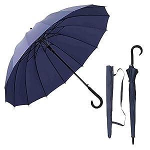 Aiyoupin傘 メンズ 傘 16本骨 紳士傘 ジャンプ傘 大きい 長傘 ワンタッチ傘 丈夫 テフロン加工 撥水 耐風 梅雨対策 晴雨兼用 収納ポーチ付き 紳士長傘 1年保証 (16本骨, ブルー)