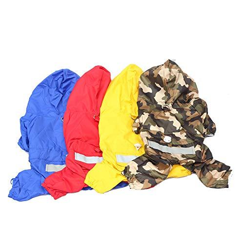 LGDD Manteau de pluie imperméable pour chien avec capuche et bandes réfléchissantes, 4 pattes, convient pour les chiens de petite, moyenne et grande taille, bleu (Bleu) - 5624KH113J