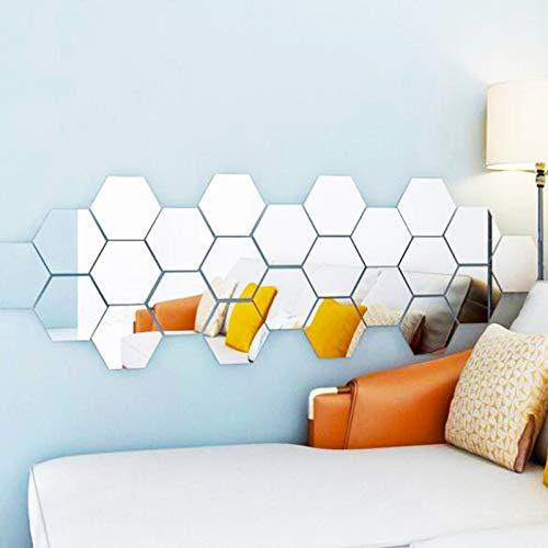 24 pegatinas hexagonales de vidrio para espejo de empalme de pared, espejo creativo, fondo hexagonal para decoración de pared para el hogar, sala de estar, dormitorio