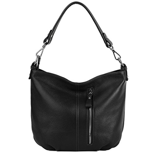 YALUXE Women's Front Pocket Soft Cowhide Leather Small Mini Purse Style Shoulder Bag Black
