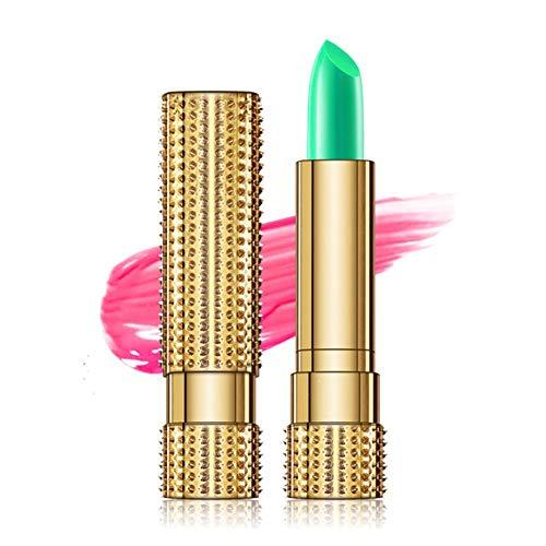 Lucoss Color-Changing Lippenstift Grün Lippenbalsam Lippen Stick Feuchtigkeitsspendende glatte Lippenlinien Pflegt Lippen Wasserdichter Lippenstift mit Temperaturänderung
