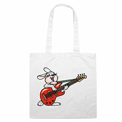 Tasche Umhängetasche Motiv Nr. 12196 Kaninchen mit der Gitarre Cartoon Spass Fun Kult Film Cartoon Spass Fun Kult Film