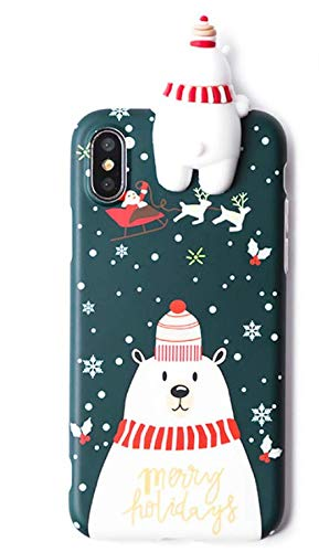 Casa Christmas Case for iPhone Xs Max, Merry Christmas Soft Silicone TPU 3D Cute Snowman Santa/Elk Pattern Pretty Cute Premium Flexible Case Gifts for Apple iPhone Xs Max 6.5'' 2018 (Green)