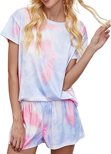 Logo COTOONLINE pijama para mujer, con estampado de teñido, manga corta y pantalones, A-rosa, Large