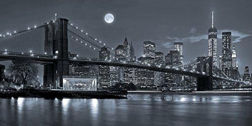 lifestyle4living Deko-Panel, New York City, Brooklyn Bridge, Bild, Wandbild, Wandpaneel, Wanddekoration, Kunstdruck, Panoramabild, Skyline, NY, schwarz, weiß, grau
