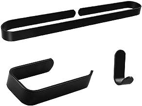 XYZMDJ Badkamer Hardware Set Aluminium Zwarte Muur Opknoping Badkamer U-vormige Handdoekenrek Badjas Enkele Haak Roll Papi...