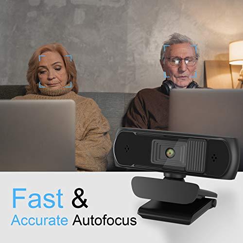 Webcam HD 1080p Webkamera, Autofokus-Webcam mit Mikrofon,Pro Streaming Webcam Für PC,MAC, Laptop,Desktop & Laptop Konferenz, Meeting, Zoom, Skype, Facetime, Windows, Linux und MacOS