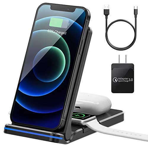 Wireless Charger Foldable Wireless Charging Station 15W 3 in 1 Qi Certified Fast Charger Stand for Apple Watch iPhone AirPods Samsung Galaxy Cell Phone with QC 3.0 Adapter
