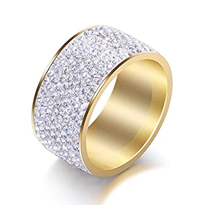 Jewelrysays 12MM Wide 8 Row Clear Crystal Ring Men Women Stainless Steel Iced Out Rings(Gold,10)