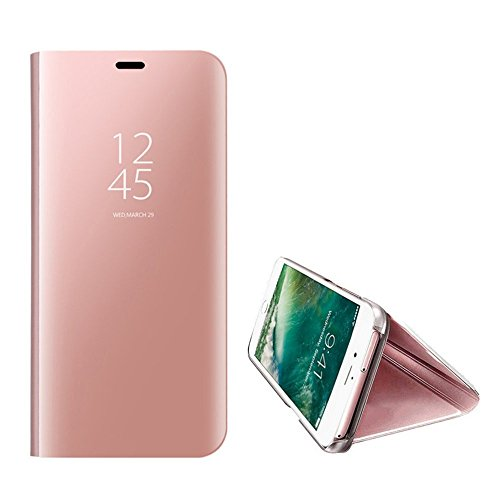 Kompatibel iPhone 8 Hülle, iPhone 7 Hülle Mirror Case Spiegel Handyhülle PU Leder Flip Case Cover Schutz Echtleder Tasche Etui Lederhülle Schutzhülle Echtledertasche für 7/8 plus (Rose Gold, iPhone 8)