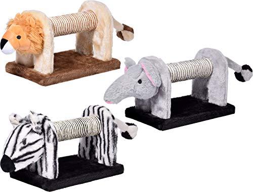 dobar Kratztiere für Katzen, Zebra, Elefant und Löwe, je 51 x 16,5 x 18 cm, MDF, Sisal, Plüsch, grau/beige/weiß, 43180FSCe