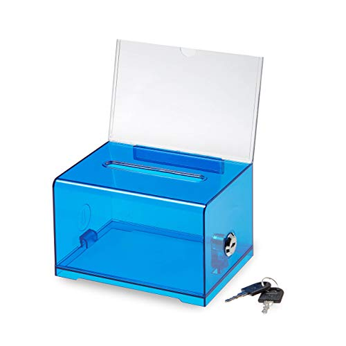 Adir Acrylic Donation Ballot Box with Lock - Secure and Safe Suggestion Box - Drawing Box - Great for Business Cards (6.25