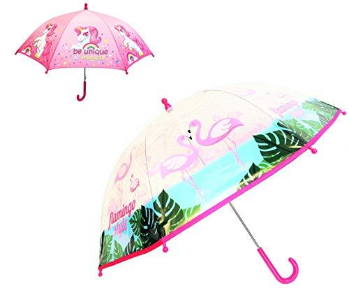 Paraguas Infantil Unicornio y Flamenco para niña. Pack de 2 Paraguas, uno de Unicornio y Otro de Flamenco.