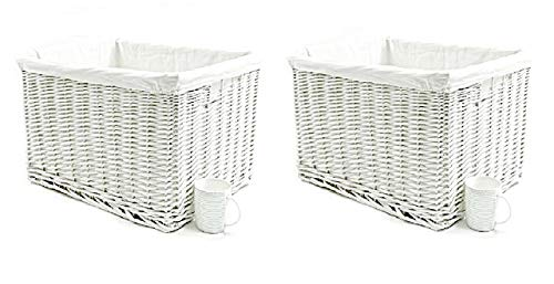 topfurnishing Huge Large Big Deep Wider Wicker Storage Kitchen Toy Log Hamper Laundry Basket (White, Set of 2 XLarge)