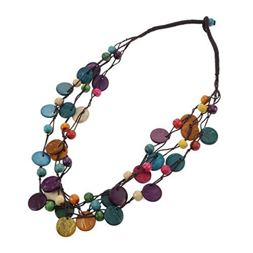 PRETYZOOM Boho Mehrschichtige Madera Perlenkette Kokosnuss Muschel Aussage Lätzchen Halskette Handgefertigten Joyas artesanía mar Playa Party entregado