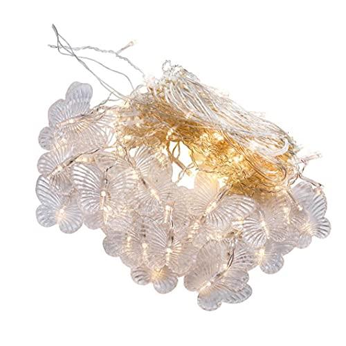 Luces de cortina de mariposa, 8 modos de ventana de cortina de ventana para jardín de boda dormitorio, blanco, enchufe de la UE para interiores