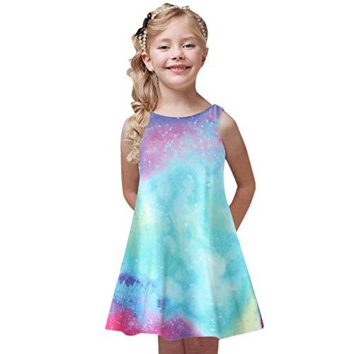 Innerternet Kleinkind Mädchen Sommer Prinzessin Kleid Kinder Printing Party ärmellose Kleid Kinder ärmellose Blumen Patchwork Kleid passende Familie Kleidung A-Linien Midi Kleider