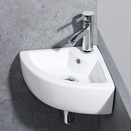 Gimify Bathroom Corner Sink Small Wall Mount Vessel Sink Triangle Cloakroom Basin Mini Ceramic Modern in White - With Overflow Pop Up Drain & Faucet Included