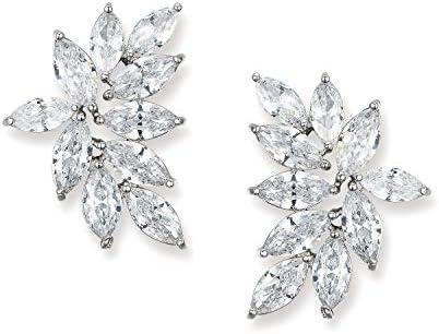SWEETV Bridal Wedding Earrings for Brides Bridesmaid Marquise Cubic Zirconia Rhinestone Cluster product image
