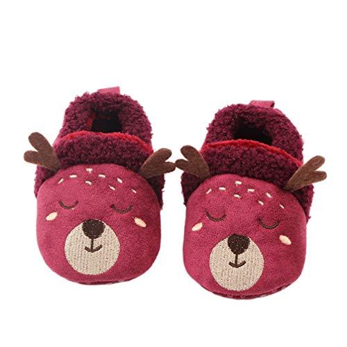 Amosfun 12cm Rentier Pantoffel schöne Plüsch warme Hausschuhe Schuhe für Kleinkind Kinderbett Neugeborenen (lila)