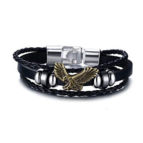 WXYBF Heren armband Eagle Flying Mannen Armband Bedels Pu Lederen Bangles Vintage Sieraden