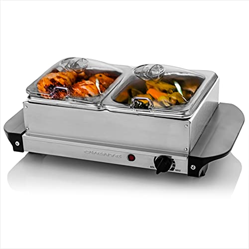 Ovente Electric Food Buffet Server & Warmer 2 Portable Stainless Steel Chafing Dishes Trays with Temperature Control & Easy Countertop Heating for Dinner Indoor Holiday Party & Catering, Silver FW152S