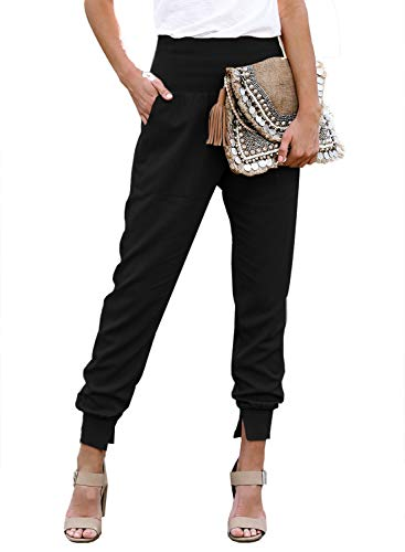 Dokotoo Womens Ladies Fashion Casual Summer Side Pockets Solid High Waistband Cotton Comfy Jogging Jogger Pants Sweatpants Black M