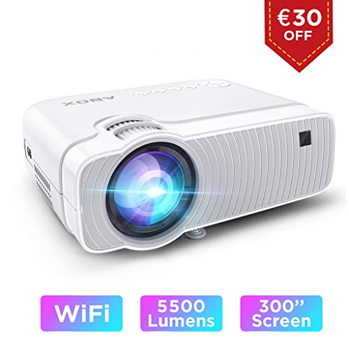 ABOX WiFi Beamer 5500 Lumen Unterstützt 1080P Full HD Wireless Projektor Max. 250\'\' Display Mini LED Dolby Sound kompatibel mit iPhone/Android Smart Phone/iPad/Mac/Laptop/PC