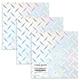 """Holographic Diamond Plate Vinyl, Silver Chrome Adhesive Vinyl, 12"""" x 12"""" Sheets for Cricut, Silhouette, Crafts, Decals, Stickers, Signs, Peel and Stick by Turner Moore (Diamond Plate Sheets, 3-pk)"""
