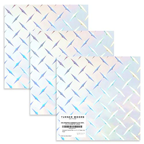 Holographic Diamond Plate Vinyl, Silver Chrome Adhesive Vinyl, 12' x 12' Sheets for Cricut, Silhouette, Crafts, Decals, Stickers, Signs, Peel and Stick by Turner Moore (Diamond Plate Sheets, 3-pk)