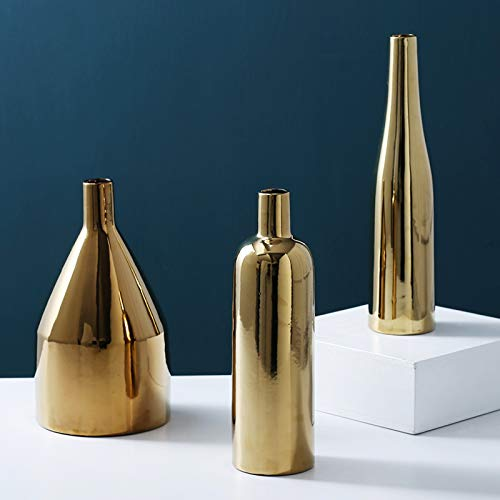 Purzest Decor Vases Set,Gold Metallic Vase, Set of 3