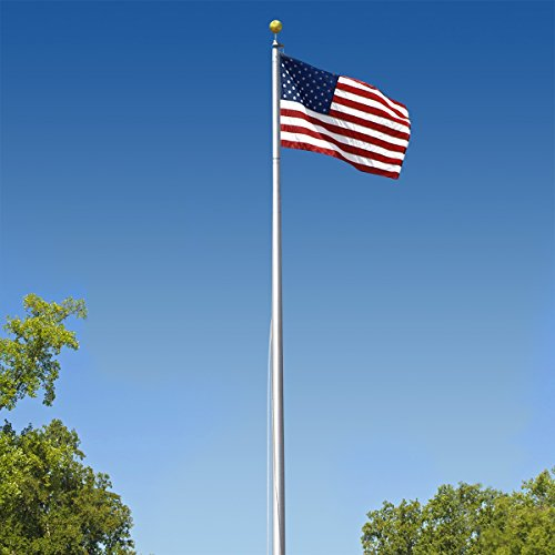 Super Tough Commercial Grade Sectional 20ft. Flagpole - Satin Finish - US Made