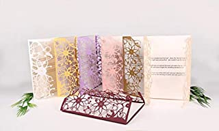Laser Cut Invitation Gate-Fold Card | Wedding and Engagement Invitations, Baby Shower Invites, Unique Invite -Pack of 6 - Birds and Flowers (Lilac)