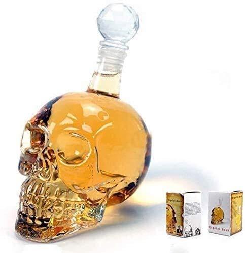 ZCL Whiskey Decanter Crystal Skull Glass Wine Decanter Multi-Purpose Whiskey Decanters Creative Vodka Bottle Transparent Whisky Gift Set Whiskey Decanter Set Crystal