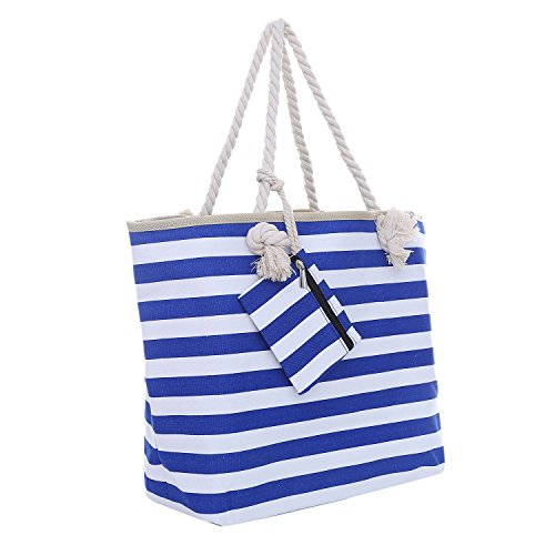 Large Beach Bag with Zipper 58 x 38 x 18 cm Maritime Stripes Blue White Shopper Shoulder Bag Beach Bag